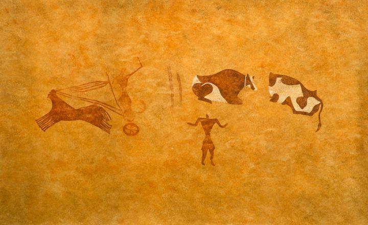 Relevé d'art parietal, 1er millénaire avant notre ère, Sahara algérien, Tassili n'Ajjer Titerast, Paris, Muséum national d'Histoire natuelle / Musée de l'Homme  (MNHN - JC Domenech)