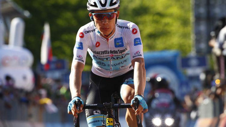 Le cycliste colombien Miguel Angel Lopez, le 1er juin 2019 au Monte Avena (Italie). (LUK BENIES / AFP)