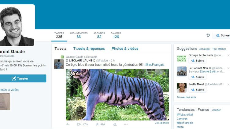 Capture d'écran du faux compte twitter de Laurent Gaudé, créé le 19 juin par des lycéens en colère. (TWITTER.COM)