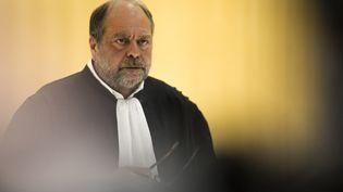 Eric Dupond-Moretti, avocat de Patrick Balkany, le 13 mai 2019 à l'issue du premier jour d'audience du procès pour fraude fiscale du maire de Levallois-Perret (STRINGER / AFP)