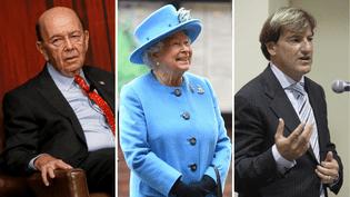 """Wilbur Ross, ministre du Commerce de Donald Trump, la reine Elizabeth II, et Stephen Bronfman, un proche de Justin Trudeau, font partie des personnalités citées dans les """"Paradise Papers"""", le 5 novembre 2017. (REUTERS / SIPA)"""