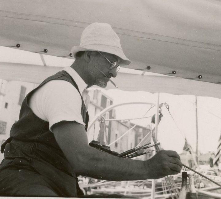 Charles Camoin sur le bateau de Poiret, 1932  (Archives Camoin)