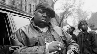 Christopher Wallace, alias Notorious B.I.G. en janvier 1995 à Brooklyn.  (Clarence Davis/NY Daily News Archive via Getty Images)