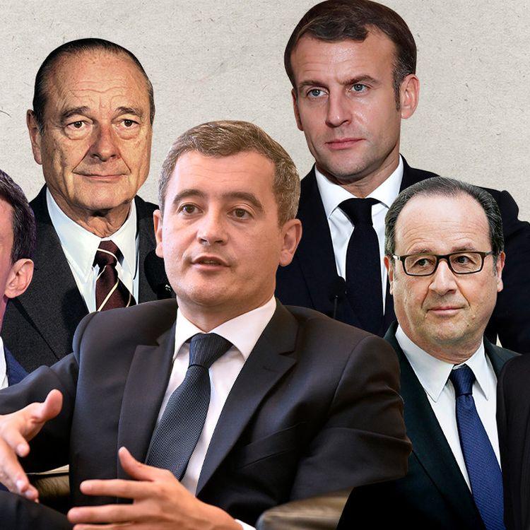 De gauche à droite : Manuel Valls, Jacques Chirac, Gérald Darmanin, Emmanuel Macron, François Hollande et Nicolas Sarkozy. (JESSICA KOMGUEN / MAXPPP/ FRANCEINFO)
