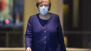 La chancelière allemande, Angela Merkel, le 25 février 2021 à Berlin. (JOHN MACDOUGALL / AFP)