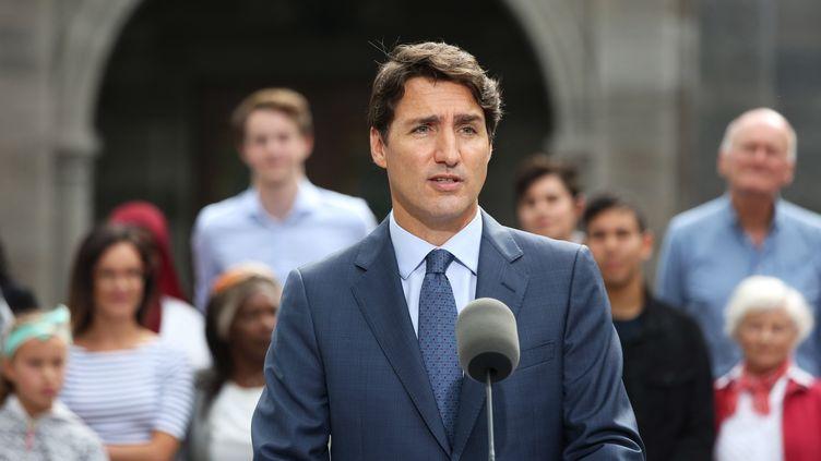 Justin Trudeau, le Premier ministre canadien, lors d'une conférence le 11 septembre 2019 à Ottawa (Canada). (DAVE CHAN / AFP)