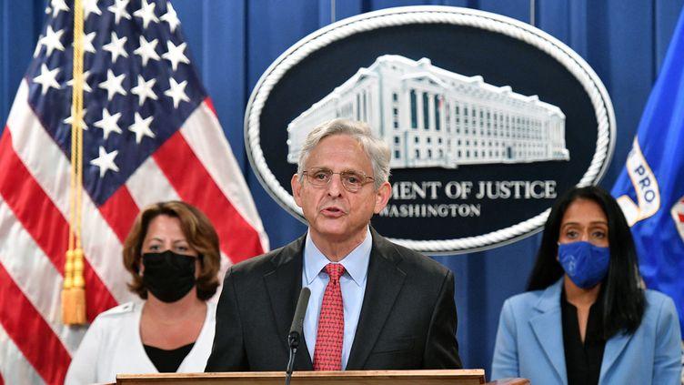 Le ministre américain de la Justice, Merrick Garland, lors d'une conférence de presse à Washington, le 9 septembre 2021. (MANDEL NGAN / AFP)