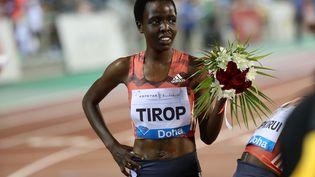 Agnes Tirop, après une course à Doha le 4 mai 2018. (KARIM JAAFAR / AFP)