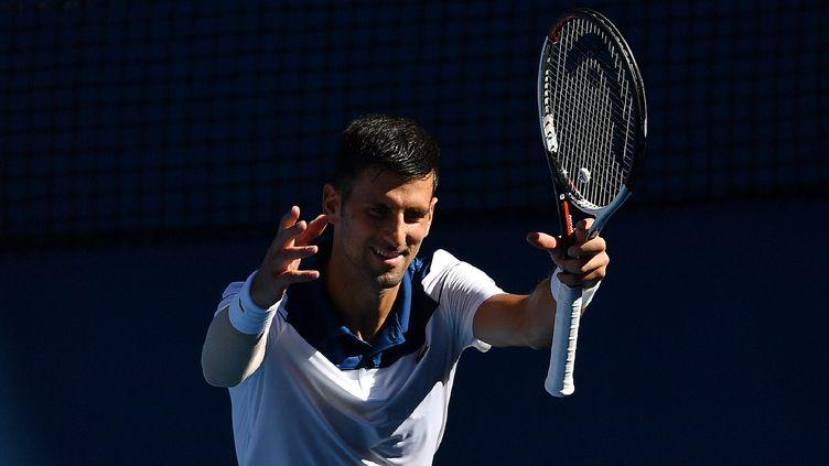 L'ancien N.1 mondial, Novak Djokovic, remercie le public (GREG WOOD / AFP)