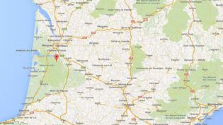 Capture d'écran de Google Maps pointant la ville de Louchats (Gironde), où cinq bébés congelés ont été découverts dans un congélateur, le 19 mars 2015. (GOOGLEMAPS)