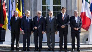 Les ministres des Affaires étrangères des six pays fondateurs de l'Union européenne le 25 juin 2016 à Berlin (Allemagne) pour une réunion sur le Brexit. (MEHMET KAMAN / ANADOLU AGENCY / AFP)