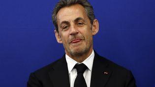L'ancien président Nicolas Sarkozy lors de l'inauguration de l'Institut Claude-Pompidou, un centre de recherchesur la maladie d'Alzheimer, le 10 mars 2014, à Nice (Alpes-Maritimes). (VALERY HACHE / AFP)