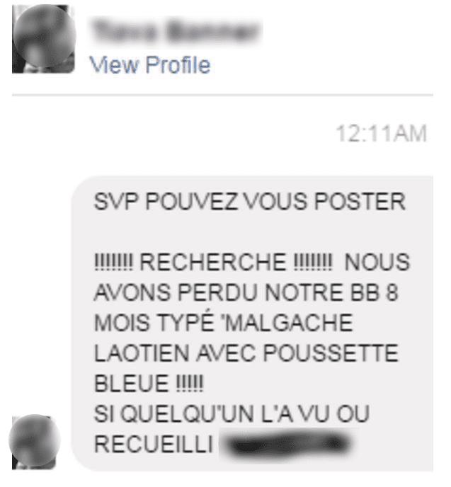 Une femme a posté un message sur Facebook pour tenter de retrouver son neveu disparu dans la panique de l'attentat survenu à Nice, le 14 juillet 2016. (FACEBOOK)