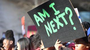"""Une étudiante brandit une pancarte sur laquelle est inscrit """"Serais-je la prochaine ?"""", samedi 24 mars 2018 lors du défilé contre les armes à feu organisé à Washington (Etats-Unis). (JIM WATSON / AFP)"""