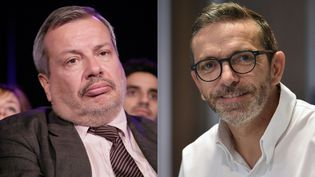 """Le journaliste gastronomique Périco Légasse estime que le chef Sébastien Bras """"se dérobe"""" en ayant obtenu le retrait de sa sélection dans le guide Michelin (photomontage). (REMY GABALDA / AFP et MAXPPP)"""
