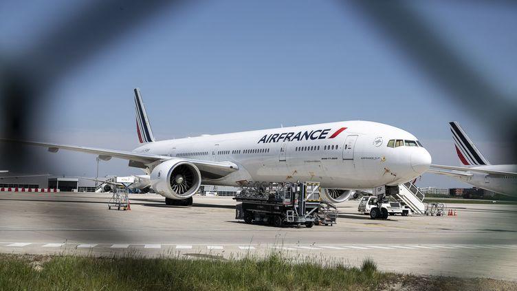Un avion d'Air France, le 16 avril 2020 à l'aéroport deRoissy-Charles de Gaulle. (YANN CASTANIER / HANS LUCAS / AFP)