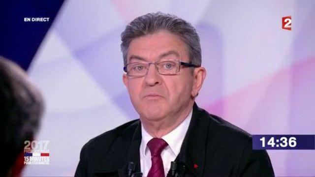 """Présidentielle : revivez le passage de Jean-Luc Mélenchon dans """"15 minutes pour convaincre"""" sur France 2"""