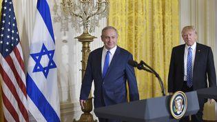 Le Premier ministre israélien, Benyamin Netanyahu (à gauche) à Washington, aux côtés du président des États-Unis, Donald Trump. (MANDEL NGAN / AFP)