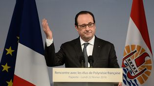 François Hollande s'adresse à Papetee aux élus de Polynésie française, le 22 février 2016. (STEPHANE DE SAKUTIN / AFP)