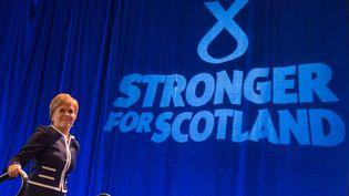 Nicola Sturgeon, Première ministre écossaise, le 17 mars 2017 lors d'un congrès du Parti national écossais à Aberdeen (MICHAL WACHUCIK / AFP)