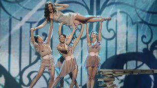 Répétition entre chant et acrobatie pour la candidate chypriote Ivi Adamou... (21/05/2012)  (Valeriy Melnikov / Ria Novosti / AFP)