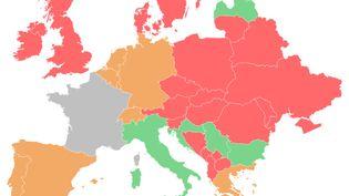 La carte d'Europe des pays selon l'ouverture (ou non) de leurs frontières. (FRANCEINFO)