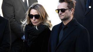 Laura Smet et David Hallyday, le 9 décembre 2017 lors des obsèques de leur père, Johnny Hallyday, à Paris. (BERTRAND GUAY / AFP)