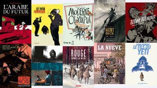 (© R. Sattouf, Allary/P. Cauuet, Dargaud Bénélux/C. Meurisse, Futuropolis/Musée d'Orsay / Ch. Chabouté, Vents d'Ouest/A.Kaneko, Casterman-Sakka/M. Hyman,Casterman/M. Larcenet, Dargaud/Ch. de Metter, Casterman/P. Roca, Delcourt/D. Tronchet, Casterman)