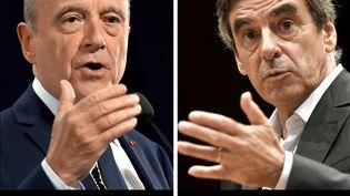 Alain Juppé et François Fillon, lors de discours prononcés à Rennes, le 19 octobre 2016, et à Pacé, le 15 septembre 2016. (LOIC VENANCE / AFP)