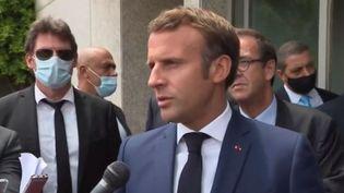 Emmanuel Macron au Liban le jeudi 6 août 2020. (FRANCE 3)