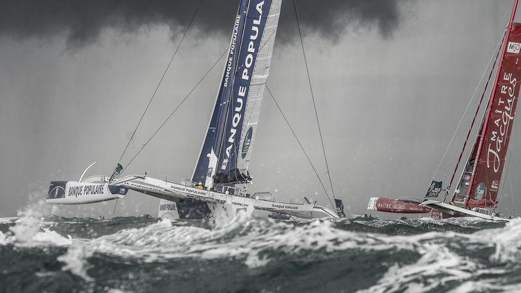 """Le skipper Loïck Peyron, sur son maxi-trimaran """"Banque Populaire"""", au départ de la 10e édition de la Route du Rhum,au large de Saint-Malo (Ille-et-Vilaine), le 2 novembre 2014.  (STEPHANIE BILLARANT)"""