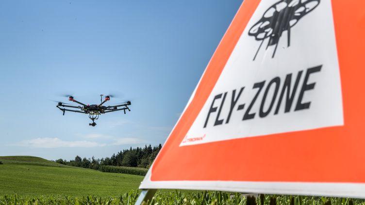 Démonstration d'un drone de recherche et de sauvetage près de Zurich (Suisse) le 23 août 2017 (FABRICE COFFRINI / AFP)