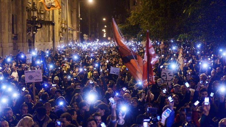 (Une manifestation contre le projet avait rassemblé des milliers de personnes à Budapest le 28 octobre © MaxPPP)
