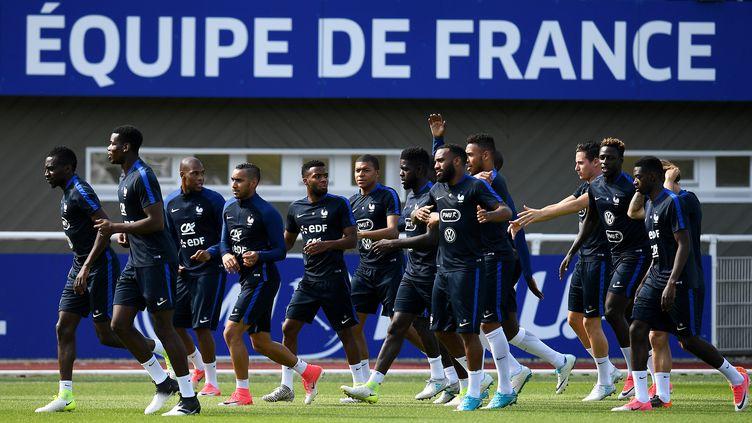 Les joueurs de l'équipe de France de football à l'entraînement.  (FRANCK FIFE / AFP)