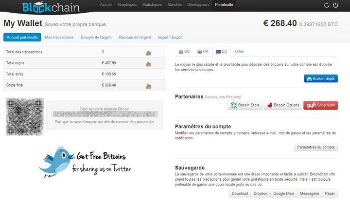 Le porte-monnaie contient désormais l'équivalent en bitcoins de 268,40 euros. (VINCENT MATALON / FRANCETV INFO)