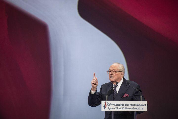 Jean-Marie Le Pen s'exprime lors du congrès du Front national à Lyon (Rhône), le 29 novembre 2014. (JEFF PACHOUD / AFP)