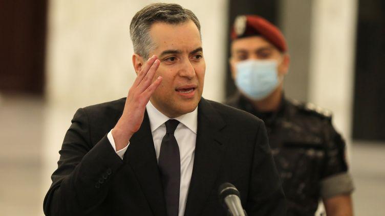 Moustapha Adib, Premier ministre libanais, le jour de sa nomination, le 31 août 2020, à Baabda, au Liban. (MOHAMED AZAKIR / REUTERS)