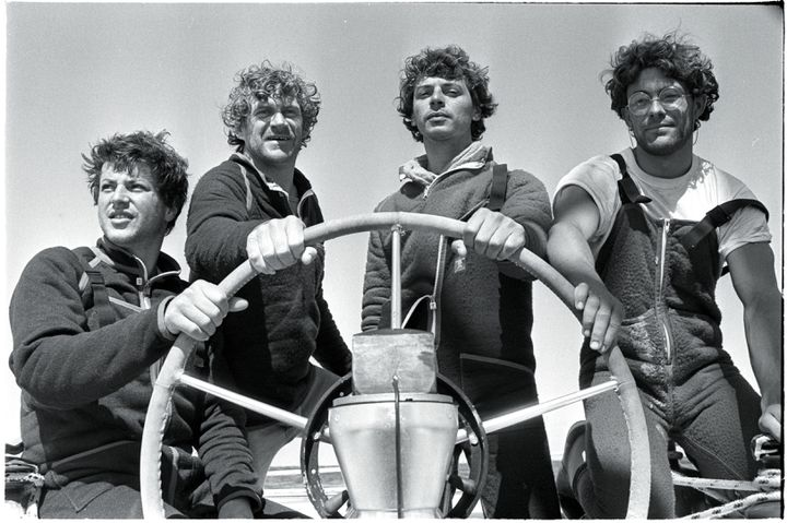 From left to right, Jean Le Cam, Patrick Morvan, Serge Madec and Marc Guillemot, record-breakers for the crossing of the Atlantic, off the island of Saint-Nicolas (Finistère), April 16, 1984. (LANGEVIN JACQUES / SYGMA)
