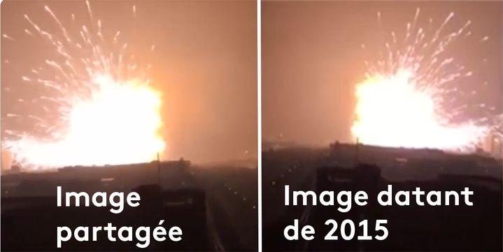 Laversion de la vidéo présentée comme l'explosion à Rouen (Seine-Maritime), le 26 septembre 2019, est inversée par rapport à celle de Tianjin (Chine) datant de 2015. (CAPTURE ECRAN TWITTER)