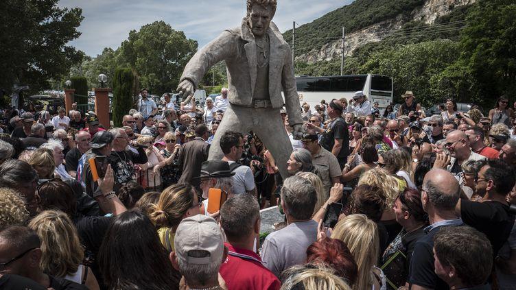 Des fans de Johnny Hallyday réunis autour d'une statue du chanteur, à Viviers (Ardèche), le 16 juin 2018. (JEAN-PHILIPPE KSIAZEK / AFP)