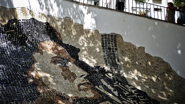 Le visage d'Amalia Rodrigues sur une mosaiïque de l'artiste Vhils, à Lisbonne, en 2015.  (PATRICIA DE MELO MOREIRA / AFP)