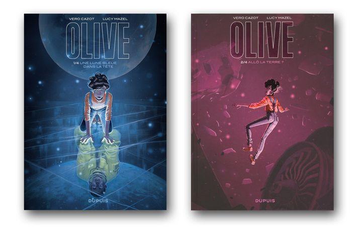 """Couvertures de""""Olive, Tome 1- Une Lune bleue dans la tête"""" et """"Olive, Tome 2 - Allô la Terre ?"""", de Véro Cazot au scénario, et Lucy Mazel, dessins et couleurs (EDITIONS DUPUIS)"""