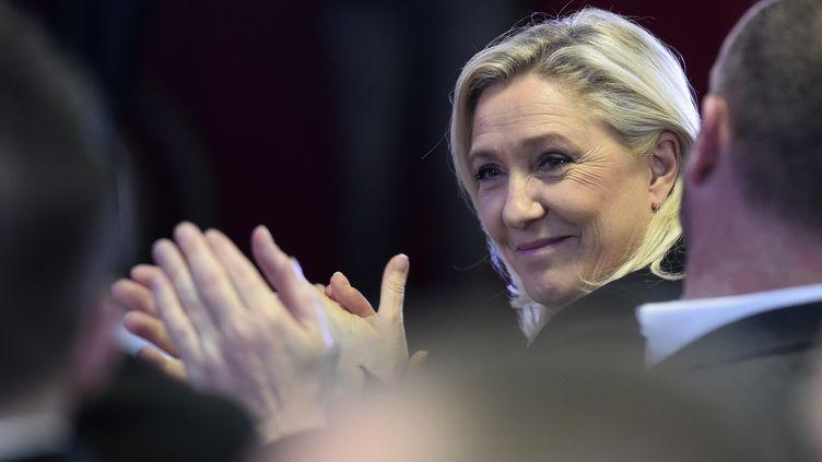 Marine Le Pen, présidente du Rassemblement national, le 29 février 2020 à Lens (Pas-de-Calais). (FRANCOIS LO PRESTI / AFP)