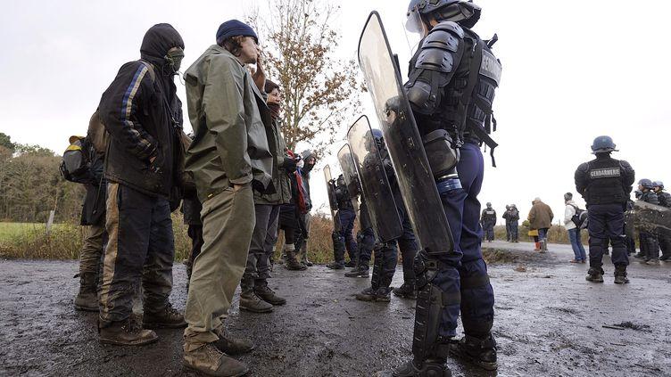 Des opposants à l'aéroport de Notre-Dame-des-Landes (Loire-Atlantique) face aux forces de l'ordre, le 15 décembre 2012. (JEAN-SEBASTIEN EVRARD / AFP)