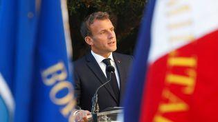 Emmanuel Macron s'exprime à l'occasion de la commémoration de la libération de Bormes-les-Mimosas (Var), le 17 août 2020. (ERIC GAILLARD / POOL / AFP)