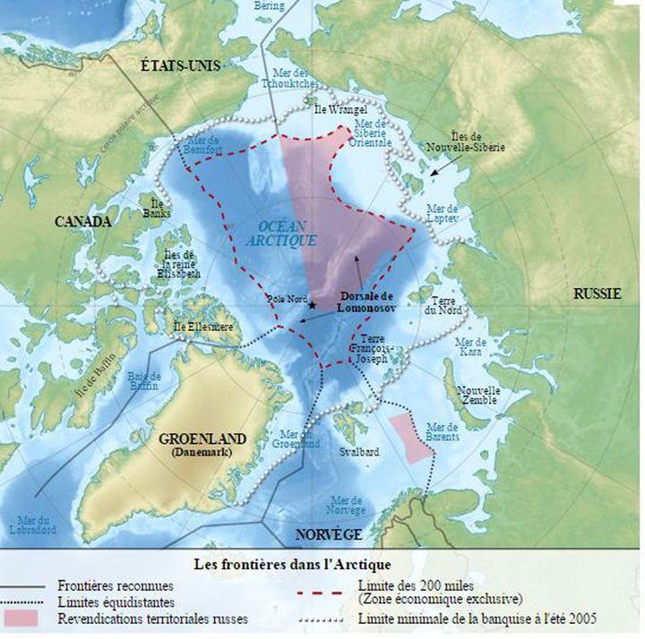Carte du pôle Nord et des huit pays riverains de l'Arctique. (common)