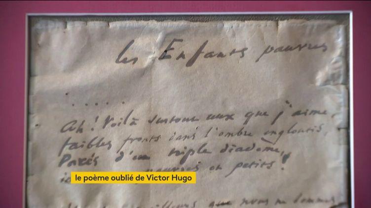 Le poème inédit de Victor Hugo retrouvé à Besançon (FRANCEINFO)