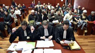 Les avocats des familles menacées d'expulsionsurle site du futur aéroport de Notre-Dame-des-Landes, au tribunal de Nantes, le 13 janvier 2016. (LOIC VENANCE / AFP)