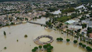 La ville de Trèbes inondée après les intempéries qui ont frappé l'Aude, lundi 15 octobre 2018. (SYLVAIN THOMAS / AFP)