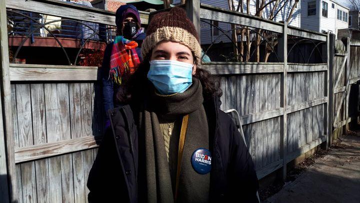 Pilar Alvarez, January 20, 2021, in the AU Park neighborhood in Washington (United States).  (VALENTINE PASQUESOONE / FRANCEINFO)